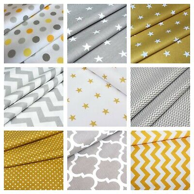 Yellow Grey 100% cotton fabric sold by big fat quarter