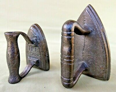 Antique Vintage Small Siddons No1 & Another Cast Iron Flat Sad Iron Paperweight