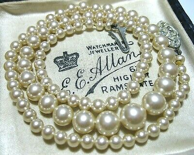 VINTAGE Beautiful Art Deco Simulated Pearl Crystal Pretty Clasp Bridal NECKLACE