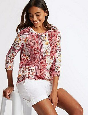 #202 BNWT Size 22 M&S Collection Floral Print Boat Neck 3/4 Sleeve Sweatshirt