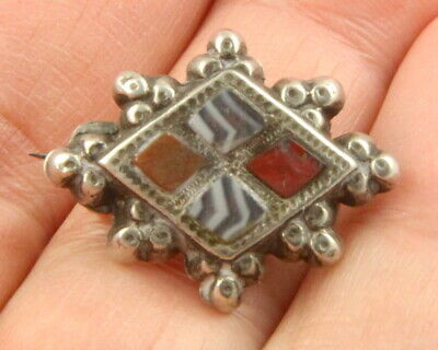 Antique Victorian c1890 sterling silver Scottish agate pebble brooch pin