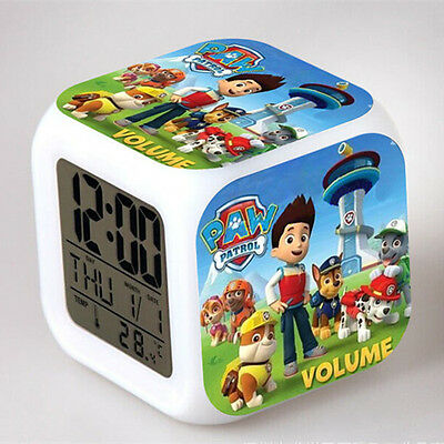 Paw Patrol Doll Figures Color Changing Night Light Alarm Clock Kids Boy Girl Toy