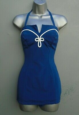 Vintage 1950s 40s WW2 Swimming Costume Blue Nautical Bathing Pin Up Halter Neck