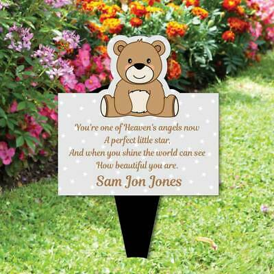 Memorial Baby funeral verse-Child Grave Ornament Personalised Teddy Bear Plaque