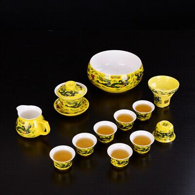 on sales kung fu tea set dragon print Chinese porcelain tea cup tureen pitcher