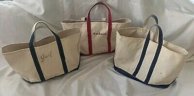 LL Bean Lot of 3 Vintage Boat And Tote Canvas Bags Navy White & Red White