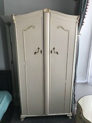 Louis French Provincial Style Wardrobe Antique Cream Double Cupboard Retro