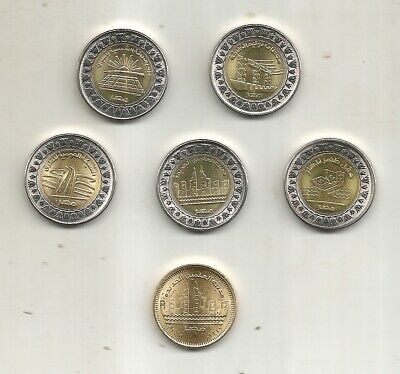 Egypt Coins New Issues 2019 Amazing Lot 5 Pcs 1Pound + Gift 50 Piastres Uncircul