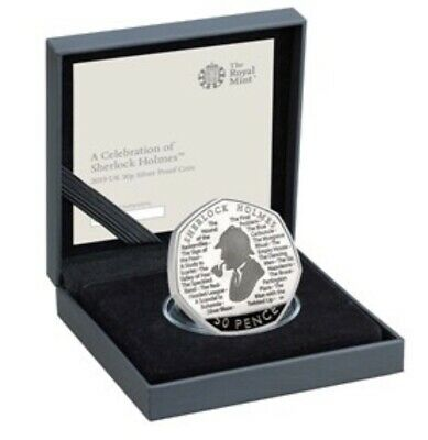 Sherlock Holmes 2019 UK 50p Silver Proof  Coin with COA and Box(pre-order)