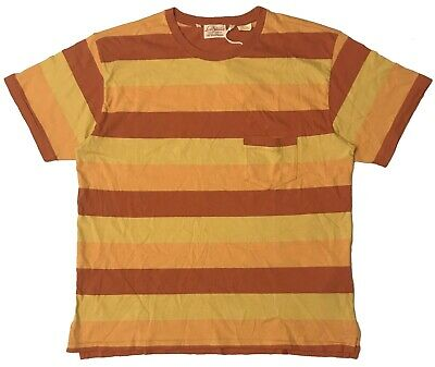 19cdd289 LEVIS VINTAGE CLOTHING 1940s Stripe Pocket T-Shirt - Yellow/Orange (MEN'S  LARGE