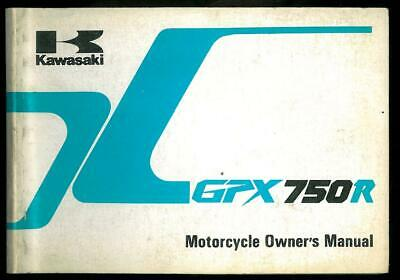 Owner's Manual KAWASAKI GPX 750 R - ZX 750 F1 - 1986/87 Owners Manuel in English