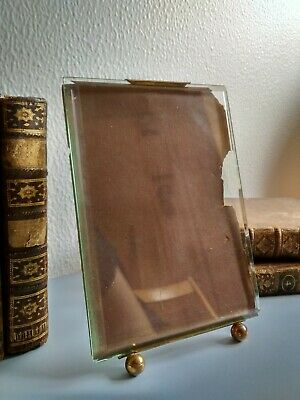 Beautiful antique brass photo frame and bevelled glass, FRENCH VINTAGE