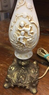 Vintage Victorian Porcelain Brass Small Underwriters Lab Antiqued Lamp Light