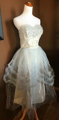 Vintage 1950's Prom Dress Tulle Netting Baby Blue Strapless Princess Wedding GUC