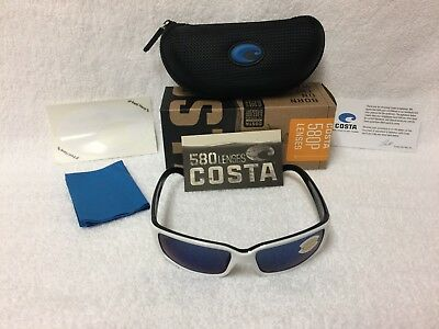 b5bd1bcac404 NEW Costa Del Mar Caballito Polarized Sunglasses White Blue 580P CL 30 OBMP  580