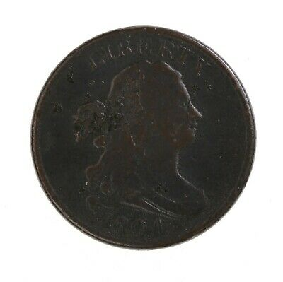 Raw 1804 Draped Bust 1/2C Circulated US Mint Copper Half Cent Coin Plain 4 Stems