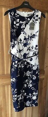 cacfb7894de13 BNWT Oasis Dress Belt Party Wedding Size 12 White Navy Blue Flowers