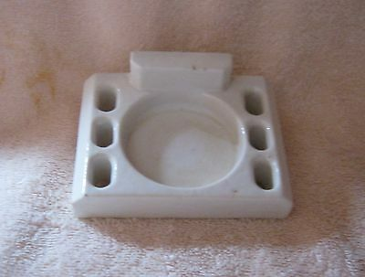 Antique White Porcelain ~ Wall Mount ~ Bathroom Toothbrush & Round Cup Holder