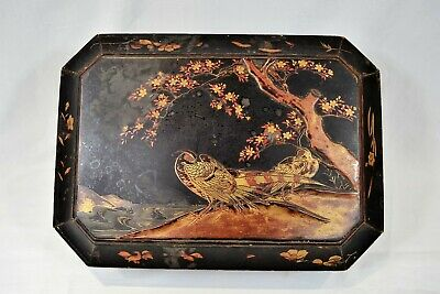 Antique Oriental Japanese Lacquered Gilt Wooden Sewing Storage Box Peacock 15""