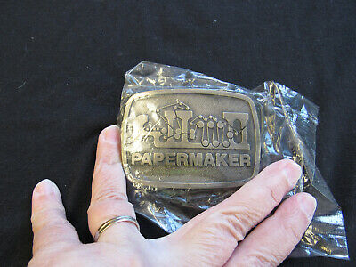 RARE Vintage New Papermaker Brass Collectible Belt Buckle