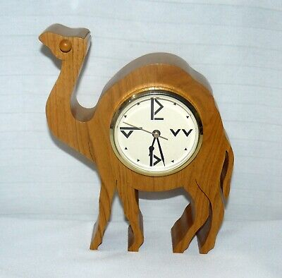 """Wooden Camel Figure Time Clock Hand Carved 9x7x2"""" Wood"""