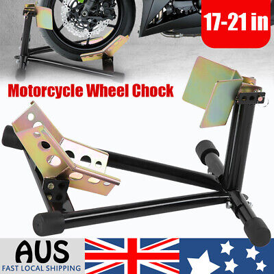Motorcycle Motorbike Heavy Duty Stand Front Wheel Chock Display Holder Transport