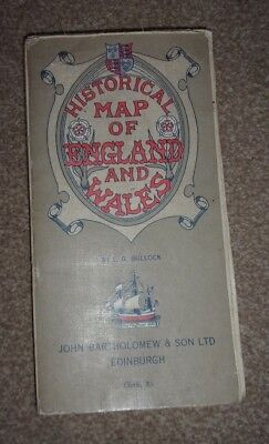 Vintage Historical Map Of England & Wales - Cloth - Bartholomew - Cost 5/-
