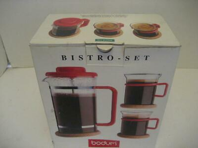 New Bodum Red French Press Coffee Bistro Set w 2 cups & cork coasters 8 cup 34oz