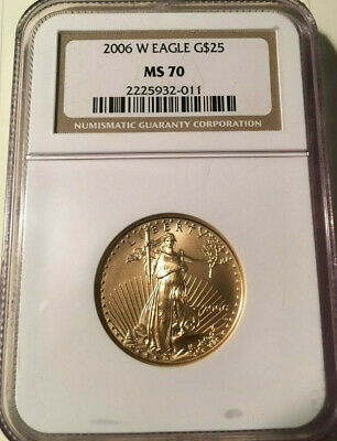 2006-W G$25 American Gold Eagle NGC MS70 Low Mintage BURNISHED- 1/2 OZ Gold