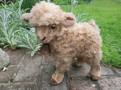 Spring Plush Lamb Sheep Toy Rusty Neck Bell Primitive Country Farm Grunge