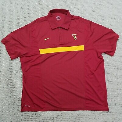 030241180 NIKE USC Trojans Dri-Fit Polo Shirt Adult 3XL XXXL Red Cardinal Gold Golf  Mens
