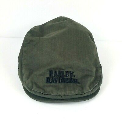 e4df906e815c6 Harley Davidson Size Large Army Green Black Stitching Newsboy Cap Hat Poor  Boy