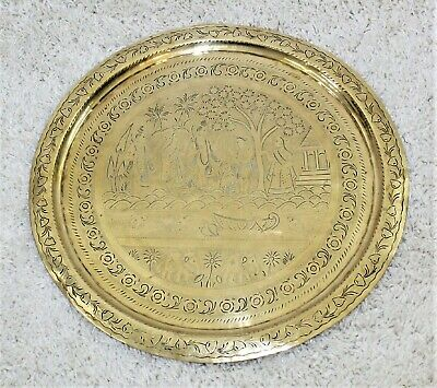 """Antique Hammered Brass Charger Plate Wall Hanging 20"""" Diameter - Ancient India"""