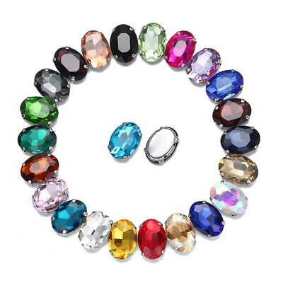 Crystal Glass Rhinestones Oval Flat Back Faceted Sew on Claw Cup Beads Craft