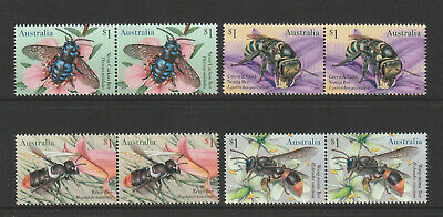 Australia 2019 : Native Bees. $1.00 Joined pairs, Mint Never Hinged
