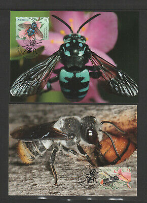 Australia 2019 : Native Bees. Set of 4 Maxicards. Mint Condition