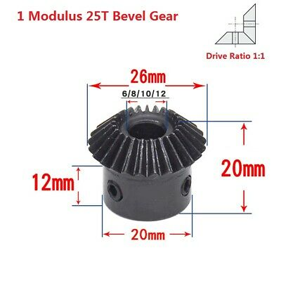 1 Modulus 25T Motor Umbrella Gear 90° 1:1 Pairing Bevel Gear Bore 6/8/10/12mm