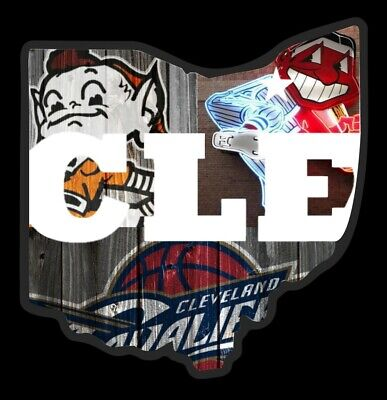Clear Sticker Cleveland all in one Browns Indians Cavaliers custom Wahoo Brownie