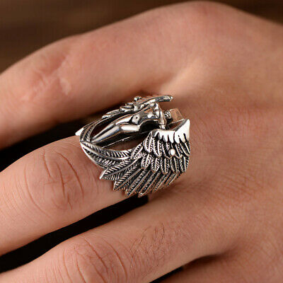 Gothic Men Cross Guardian Angel Wings Carved Biker Finger Ring Jewelry Soft