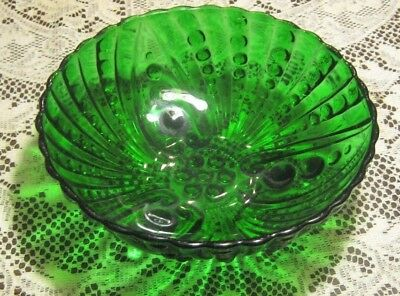 Footed Green Anchor Hocking Oyster & Pearl Bubble Depression Glass Bowl 8 1/2""