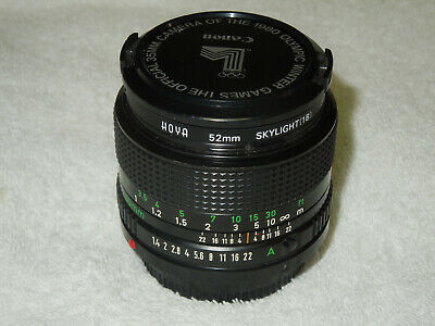 Canon New Style FD 50mm 1:1.4 Lens, with Hoya Filter & Olympic Lens Cap