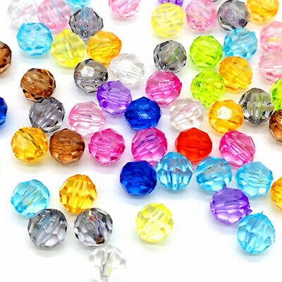6/8/10/12mm Rondelle Faceted Acrylic Beads Loose Spacer Beads for Handmade DIY