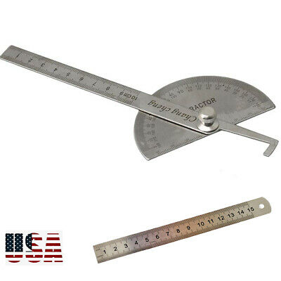 SAE Stainless Steel Rotary Protractor Angle Rule Gauge Machinist Tool Ruler Set