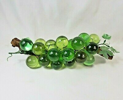 Vintage Mid Century Modern Acrylic Green Large Lucite Grape Cluster on Wood 14""