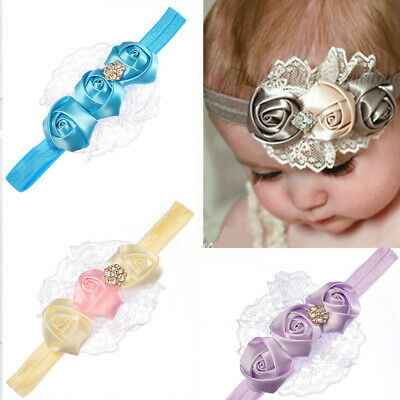 Newborn Baby Girls Lace Rose Flower Elastic Headband Headwear Hair Band Acces
