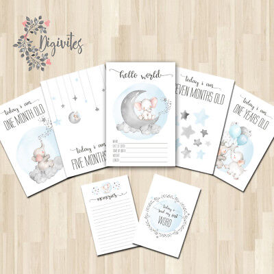 Baby Milestone Cards, Baby Boy Moments and Milestones, Elephants, Clouds & stars