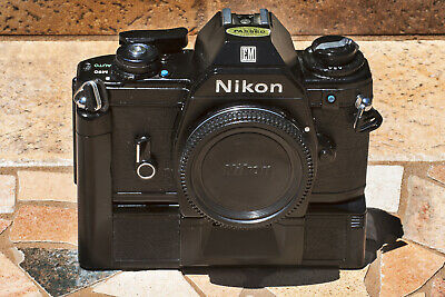 Beautiful Nikon EM with fully functioning MD-E Motor Drive - Nice Outfit.