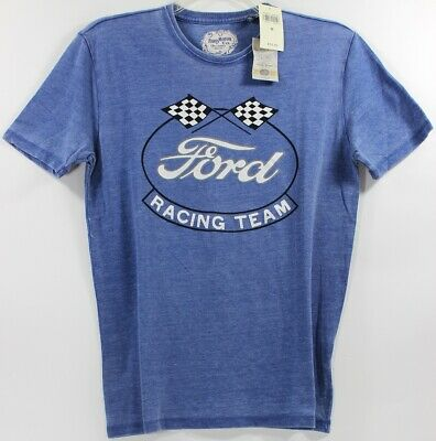 Lucky Brand Ford Racing Team Oval Flags Logo T-Shirt Tee Motor Company Mustang