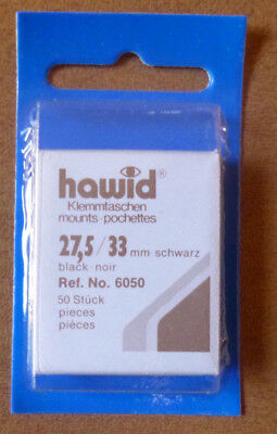HAWID STAMP MOUNTS BLACK Pack of 50 Individual 27.5mm x 33mm - Ref. No. 6050