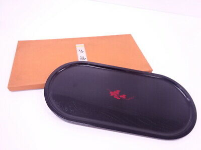 4162545: Japanese Black Lacquered Oval Tray / Grapes